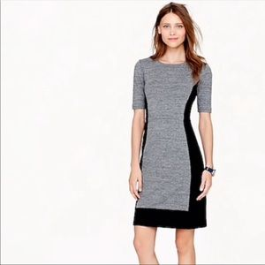 J.Crew Gray Black Paneled Colorblock Stretch Dress